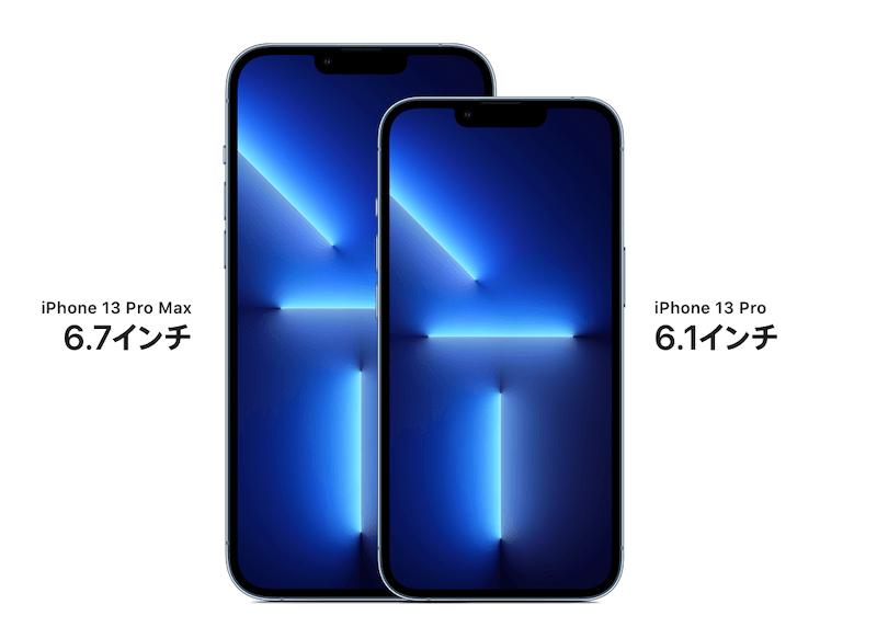 Proは6.1インチ、Pro Maxは6.7インチ